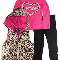 Xoxo Girls Cheetah Vest With Long Sleeve Tee 3pc Leggings Set Photo