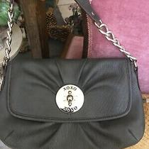 Xoxo Handbag Clutch Grey Small 11 1/2 7 1/2 1 Logo Silver Snap Closure Chain Photo