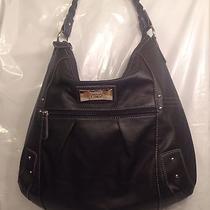 Xoxo Handbag Large  Purse Tote Bag Black Braided Strap Faux Leather Studded   Photo