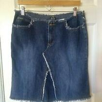 Xoxo Jeans Raw Hems Denim Women Short Skirt Size 9/10 Blue Photo