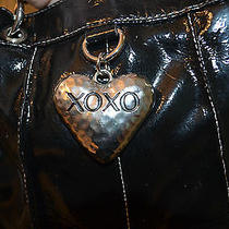 Xoxo L Patent Leather Black Metal Heart Purse Tote Shoulder Bag Luggage Travel Photo