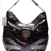 Xoxo Luxury Icon Black Croco Shoulder Handbag Photo
