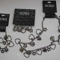 Xoxo Peace Sign Love Hearts New Full Set Earrings Bracelet Necklace Gray Color Photo