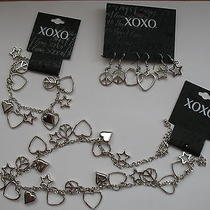 Xoxo Peace Sign Love Hearts New Full Set of Earrings Bracelet Necklace Silver Photo
