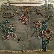 Xoxo Sequin Embellished Denim Mini Skirt Flower & Bird Sz 5/6 Wearable Art Photo