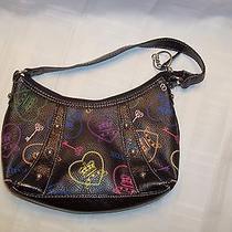 Xoxo Small Black Purse Handbag  Colorful  Keys  Locks  Hearts  Crowns Photo