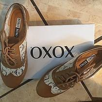 Xoxo Tan With Beige Lace Oxford Lace Ups Size 8.5 Photo
