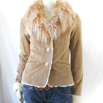 Xoxo Unique Suede Blonde Curly  Mongolian Lamb Fur Collar Glam Jacket Small Photo