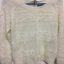 Xoxo White Fuzzy Cropped Lace Sweater Size Xsmall Photo