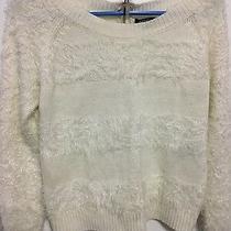 Xoxo White Fuzzy Cropped Lace Sweater Size Xsmall Photo