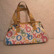 Xoxo White Purse With Bright Colorful x's & o's Beige Handle & Bottom New W/tags Photo