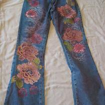 Xoxo Women's Graphic Painted Flower Design Jeans  Photo