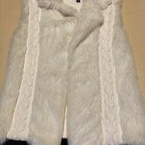 Xoxo Women's Size Large Faux Fur White Sweater Knit Vest ''nice'' Photo