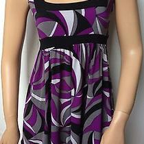 Xoxo Womens Size Small Cap Sleeve Empire Waist Mod Print Mini Dress Tie Back Photo