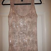 Xs Ann Taylor Blush & Gray W/ Clear Sequins Pima Cotton & Modal Sleeveless Top Photo