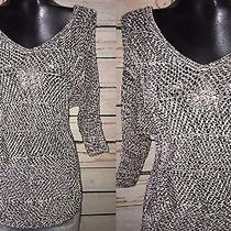 Xs - Express Black and White Open Knit Circle Hem Tunic Sweater Photo