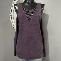 Xs Express Womans Oversized Purple Knit Lace Up Cold Shoulder Sleeve Sweater Photo