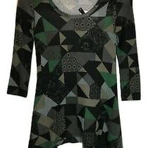 Xs Green Black Geo Print Hi Lo Pullover Sweater Tunic Grace  Elements Nwt Photo