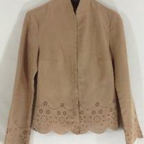 Xs Limited Faux Suede Shirt Khaki Brown Cut-Out Flower Flare Cuff L/s Women Photo