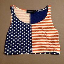 Xs Mink Pink American Flag Crop Top Photo