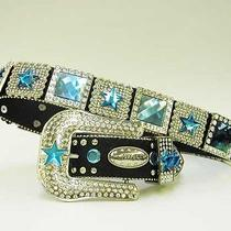 Xs S M L Xl Blue Square Prism Star Concho Buckle Western Cowboy Girl Black Belt Photo