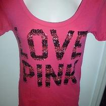 Xs Victorias Secret Pink Bling Black Stripe Love Cuff T Shirt Top Hot Sequins Photo