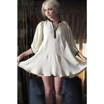 Xs Winter Kate White Black Vintage Silk Isolde Baby Doll Tunic Dress Photo