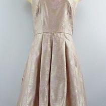 Xscape Sleeveless Pleated Dress See Through Back Satin Blush Pink Size 6 Photo