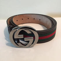 Y-808100 New Gucci Shield Buckle Black Leather Belt Size 46/115 Photo