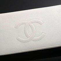 Y5009e Authentic Chanel Coco Caviar Skin  Wallet White Photo
