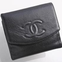 Y5047e Authentic Chanel Coco Caviar Skin  Wallet Black Photo