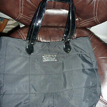 Yankee Candle Black Quilted Tote Bag Purse Quilted With Patent Straps Soft Photo