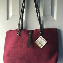 Yankee Candle Burgundy Faux Suede Tote Bag Purse Brown Faux Leather Trim  Photo
