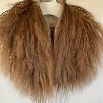Yansi Fugel Brown Red Auburn Mongolian Curly Lamb Sheepskin Collar Scarf Fur Photo