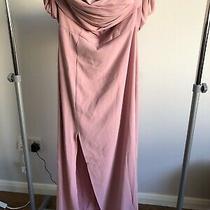 Yaura Column Maxi Dress With Pleat Off Shoulder Blush Pink - Uk 10 Rrp 120 Photo
