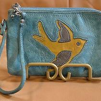 Yellow Bird Fossil Blue Leather Zip Wristlet Photo
