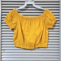 Yellow Embro Off-Shoulder Crop Top L Urban Outfitters Earrings Photo