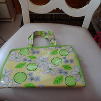 Yellow Green and Purple Avon Jewelry or Cosmetic Tote Photo