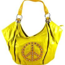 Yellow Peace Sign Rhinestone Hobo Bag Handbag Photo