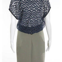 Yigal Azrouel Blue Green Gray Cotton Perforated Faux Leather Trim Dress Sz 6 Photo