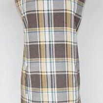 Yigal Azrouel Brown Gold White Blue Plaid Shift Pockets Dress Fall Winter 8 Photo