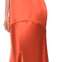 Yigal Azrouel Burnt Orange Silk Bias Cut Evening Dress Gown 6 2190 New Photo