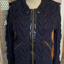 Yigal Azrouel Cable Knit Wool Jacket Sz S Navy Sweater Patent Cardigan Zip Up Photo