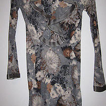 Yigal Azrouel Floral Print  Stretch Jersey Long Sleeve Ruffled Dress Sz 2 1249 Photo