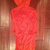 Yigal Azrouel Gorgeous Ruched Orange Mini Drape Dress Size Xs Photo