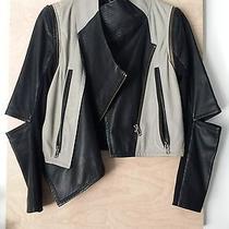 Yigal Azrouel Grey Black Leather Jacket Small Medium Photo