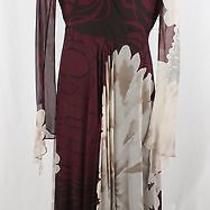 Yigal Azrouel Maroon Floral Surplice Neckline Long Sleeve Flowy Silk Dress Sz 6 Photo