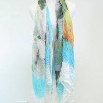 Yigal Azrouel Modal and Cashmere Scarf Multi Watercolor Print Gently Worn Photo