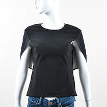 Yigal Azrouel Nwt 650 Black White Crew Neck Slit Sleeve Stretch Fitted Top Sz 4 Photo
