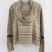 Yigal Azrouel Nwt Tan Multi Wool Blend Knit Stripe Draped Neck Sweater Size Xs Photo